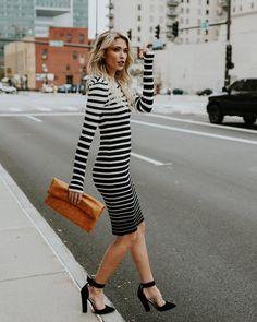 Posh In Paris Striped Bodycon Dress