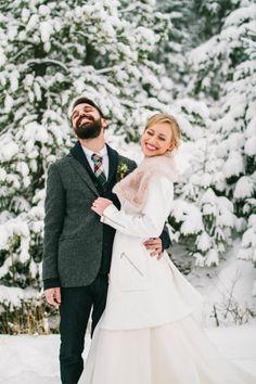Total silliness: http://www.stylemepretty.com/colorado-weddings/2015/02/10/winter-wedding-first-look-shoot/ | Photography: Madeleine Bonin - http://www.madeleinebonin.com/