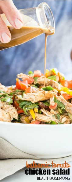 This BALSAMIC TOMATO CHICKEN SALAD is packed with simple fresh ingredients and takes less than 30 minutes to make! The perfect side for that summer backyard barbecue party!