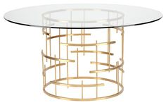 One Kings Lane Sasha 59 Round Dining Table - Gold Glass Top Dining Table, Modern Dining Table, Round Dining Table, Dining Room Table, Dining Rooms, Entry Tables, Hall Tables, Side Tables, Mitchell Gold