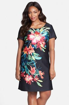 Gabby Skye Tropical Print Shift Dress (Plus Size) available at #Nordstrom