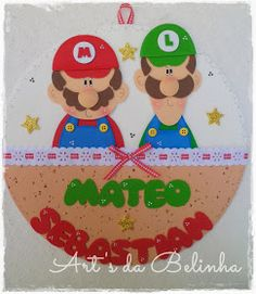 Art's da Belinha: {Tudo Junto & Misturado ... ♥} Mario Party, Foam Crafts, Super Mario Bros, Luigi, Minions, Illustrators, Minnie Mouse, Clip Art, Christmas Ornaments