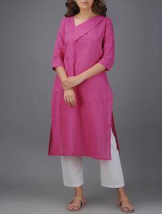 Pink Blue Embroidered Cotton Kurta Women Kurta