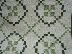 Green and white Burgoyne Surrounded quilt, Crossroads Quilters Guild Raffle Quilt 2011, made by the Raffle Quilt Quilters  quilting by: http://www.facebook.com/pages/Elizabeths-Machine-Quilting/152010964911556