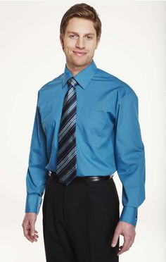 Men's Semi Cutaway Collar Shirt, Teal
