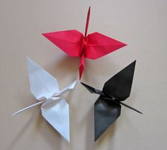 18 Large Origami Cranes in Red White and Black by MadeByJo on Etsy Origami Cranes, Origami Paper, Power Ranger Party, Create Business Cards, Ninja Birthday, Ninja Party, Red And White, Black 7, Colorful Party