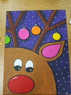 reindeer painting on canvas Rudolph the red nosed reindeer christmas canvas Items similar to reindeer painting on canvas Rudolph the red nosed reindeer on Etsy Christmas Paintings On Canvas, Cute Canvas Paintings, Easy Canvas Painting, Painting For Kids, Diy Painting, Art For Kids, Reindeer Drawing, Classe D'art, Christmas Art