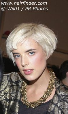 Agyness Deyn - the bleach blonde pixie cut i have is because of this chick, and here she is with longer hair pissing me off lol