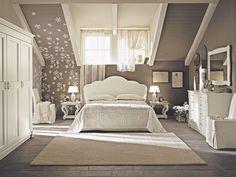wohnideen schlafzimmer vintage beige blumen dachdeko