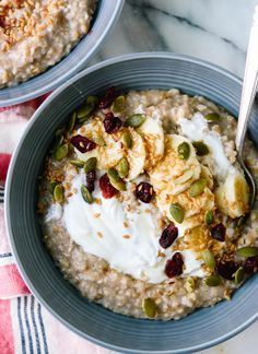 Ultra creamy, toasted steel-cut oats. Learn how to cook a batch that lasts all week! cookieandkate.com