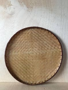 Vintage Hand Woven Bamboo Winnowing Flat Basket by ForestaVintage