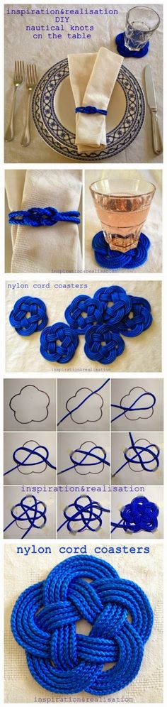 DIY Nautical Nylon Cord Knot Coasters Tutorial- can be adapted to tatting