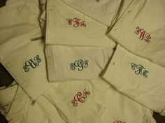 "Bridesmaids ""morning of"" shirts from the Little Monogram Shop in Old Town Alexandria."