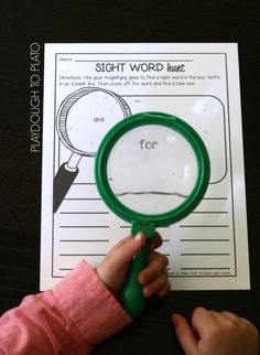 Type tiny sight words. Search for them with magnifying glass. Write them down. Cross them out.
