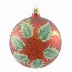 Holiday-Ornament-CHRISTMAS-ITALIAN-BALL-Blown-Glass-Holiday-Z9989-HOLLY