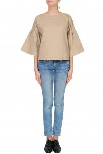 Beige Flared Sleeves Boxy Jigsaw Top #clothes #olio #designer #shopnow #happyshopping