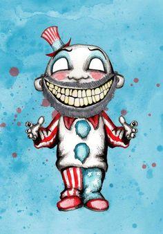 Clown Business Sticker by LVBart - White - Creepy Drawings, Dark Art Drawings, Halloween Drawings, Creepy Art, Cartoon Drawings, Cartoon Art, Creepy Clown, Horror Cartoon, Horror Art