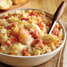 Lobster Macaroni and Cheese:  Generous chunks of sweet Maine lobster meat and tender shell-shaped pasta are blended with a creamy Mascarpone and cheddar cheese sauce, then topped off with a crunchy layer of Panko bread crumbs with herbed butter, lemon zest and a hint of Parmesan.