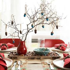 nice way to use branches in a centerpiece.