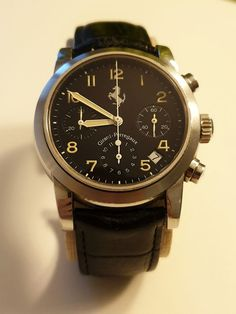 """Currently at the #Catawiki auctions: Girard-Perregaux - Ferrari Chronograph Automatic """"NO RESERVE PRICE"""" - 8020 - ... Ferrari, Girard Perregaux, Oclock, Cool Watches, Chronograph, Omega Watch, Auction, Steel, Men"""