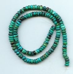 6 mm Turquoise Rough Cut Rondelle Beads Green