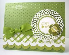 handmade St. Patrick's Day card ... pretty design ... green and white ... scalloped layered edge ...