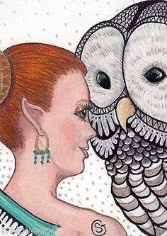 Fairy Owl ORIGINAL ACEO ART SFA ArtCard Fantasy Zentangle Inspired Blue Goeben