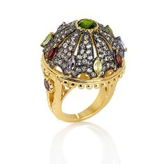 Rarities: Fine Jewelry with Carol Brodie 5.38ct Chrome Diopside and Multigemstone Vermeil Ring //  OMG, I so want this ring! Although I really  want the option of Fine Silver with some oxidation. I just can't invest in a plated piece. Gold plating / Vermeil always... over time...begins to wear.  Carol - 999 mixed with platinum instead of nickle as an option would be priceless!   Love this entire Limited Edition for the OZ movie!!! You outdid yourself! $199
