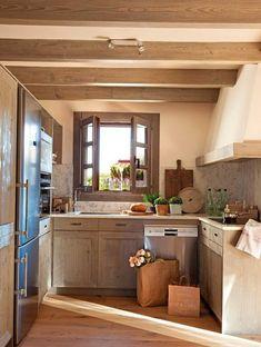 decoration petite cuisine poutres bois