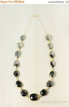 ON SALE Gold Black Rutile Quartz Necklace - Black Stone Bib Necklace - Tourmalinated Quartz