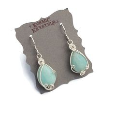 Amazonite Gemstone Earrings in Sterling Silver / Light Blue Stone Earrings / Wire Wrapped Gemstone Jewelry / Small Wire Wrap