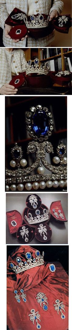 Queen Marie-Amélie's Sapphire, Diamond, and Pearl Tiara and Parure, France (1830; made by Bapst; sapphires, pearls, diamonds). Came from Hortense de Beauharnais; may have belonged to her mother, Empress Josephine. Hortense sold them to King Louis-Philippe. His wife Queen Marie Amelie (Marie Antoinette's niece) remodeled them. Now in the Louvre.