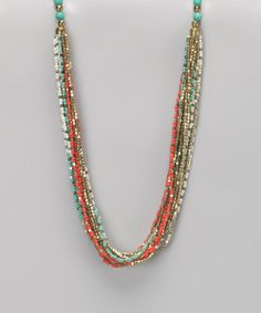 Coral & Turquoise Seed Bead Necklace