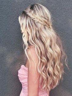 abendfrisurenmittellangehaarehalboffen  Frisuren  Pinterest  Haare halboffen