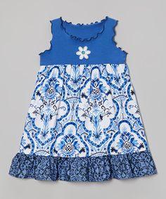 Look what I found on #zulily! Blue Damask Ruffle Babydoll Dress - Toddler & Girls by Tutu & Lilli #zulilyfinds