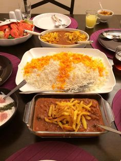 Delicious Persian dinner.  Khoresh Gheimeh with Basmati rice.