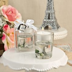 Eiffel Tower Gel Candle Holder With White Rose And Leaf Detail
