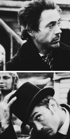 RDJ & Jude Law as Holmes & Watson - beautiful black and white portraits