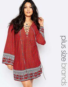 Boohoo+Plus+Border+Print+Tie+Front+Shift+Dress 8788b7fb9fe51