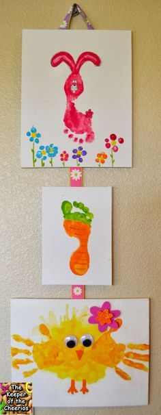 Einfaches   Basteln Mit Kindern: Lustige Aus Hand  Und Fußabdrücken Mit  Lebensmittelfarbe