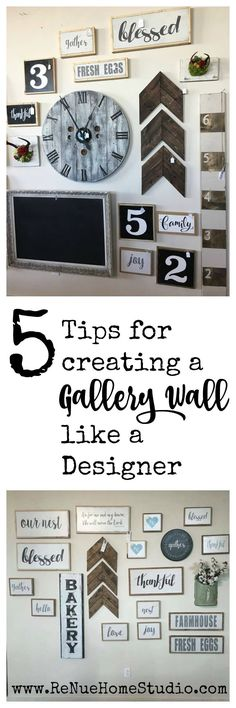 Are you struggling to make that Gallery Wall for your home or nursery that you\'ve always dreamed of having? We have 5 easy Tips for Creating a Gallery Wall like a Designer.    Gallery Walls DIY, Gallery Wall Inspiration, Gallery Wall Ideas, Nursery Ideas, Nursery Gallery Wall, Vignette, Chevrons, Growth Ruler, Spool Clock, Handmade Signs, Hand made Sign, Chalkboard, Chalkboards, Arrows