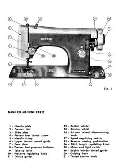 Necchi Lelia 510 Sewing Machine Instruction Manual. Here are just a few examples of what's included in this manual: * Name of machine parts. * Recommended needle and thread. * Inserting needle. * Threading machine. * Bobbin winding. * Adjusting tension. * Oiling machine. * Troubleshooting. Share This: