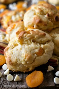 White Chocolate Apricot Scones - A delicious flavor combination in a moist and delicious scone! (This scone recipe is very versatile and can be used as the base for many other scone recipes and variations.)