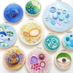 Justyna Wołodkiewicz creates wonderful abstract and beautifully unique embroideries, adding polymer clay to produce surfaces, that appear to Abstract Embroidery, Modern Embroidery, Embroidery Hoop Art, Cross Stitch Embroidery, Polymer Clay Sculptures, Sculpture Clay, Ceramic Sculptures, Textile Design, Textile Art