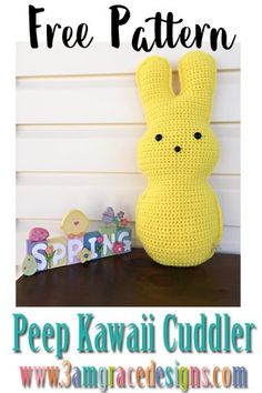 Our free easter bunny peep crochet pattern is a fun addition to your decor this spring! How To Crochet An Easter Peep Amigurumi Cuddler Pillow. Our Free Easter Peeop Crochet Pattern Works Up Quickly! Crochet Patterns Amigurumi, Crochet Dolls, Crochet Yarn, Free Crochet, Crochet Afghans, Easter Bunny Crochet Pattern, Crochet Flower Patterns, Crochet Rabbit, Crochet Flowers