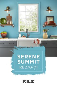 Brighten up the interior design of your home with a brand new wall color. KILZ COMPLETE COATⓇ Paint & Primer In One in Serene Summit is a fun choice. This bright blue hue pairs beautifully with the gray painted cabinets and white marble countertop in this colorful kitchen. Click below for full color details to learn more.