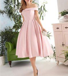 Pink Off Shoulder Tea Length Vintage Formal Dress, Short Prom Dress, Short Evening Dress, Simple Pink Formal Dresses