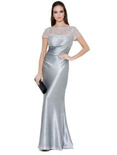 DAVID MEISTER Silver Metallic Gown  #Gown #eveningwear #DavidMeister #Redcarpet #Dress #Dubai
