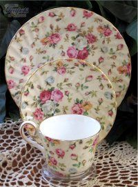 Heirloom Antique Rose Chintz Bone China Cup, Saucer & Plate Trio