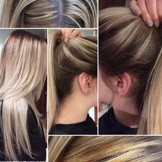 From bad salon highlights, not even close to the root...and Yellow/Orange... To a beautiful Blonde Balayage with Rootmelt, toned to an Icy-Beige